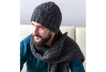 Mens cable hatscarf for web